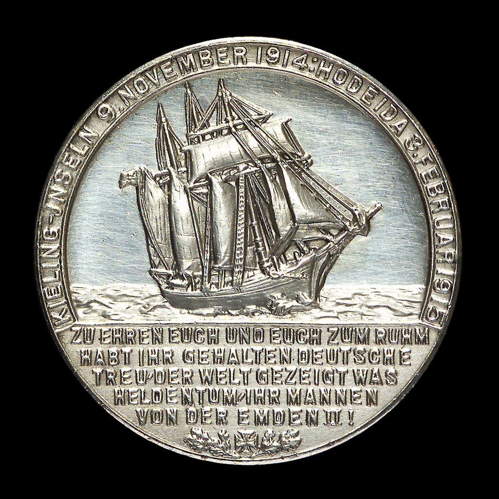 Detail of Medal commemorating Captain-Lieutenant Helmuth von Mücke (1881-1957) and the cruiser 'Emden' by L.C. Lauer