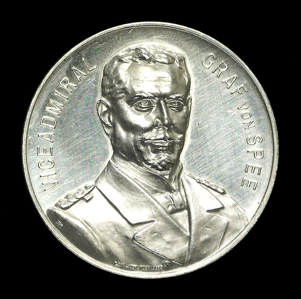 Detail of Medal commemorating depicting Admiral Count von Spee and the Battle of the Falkland Islands, 1914; obverse by L.C. Lauer