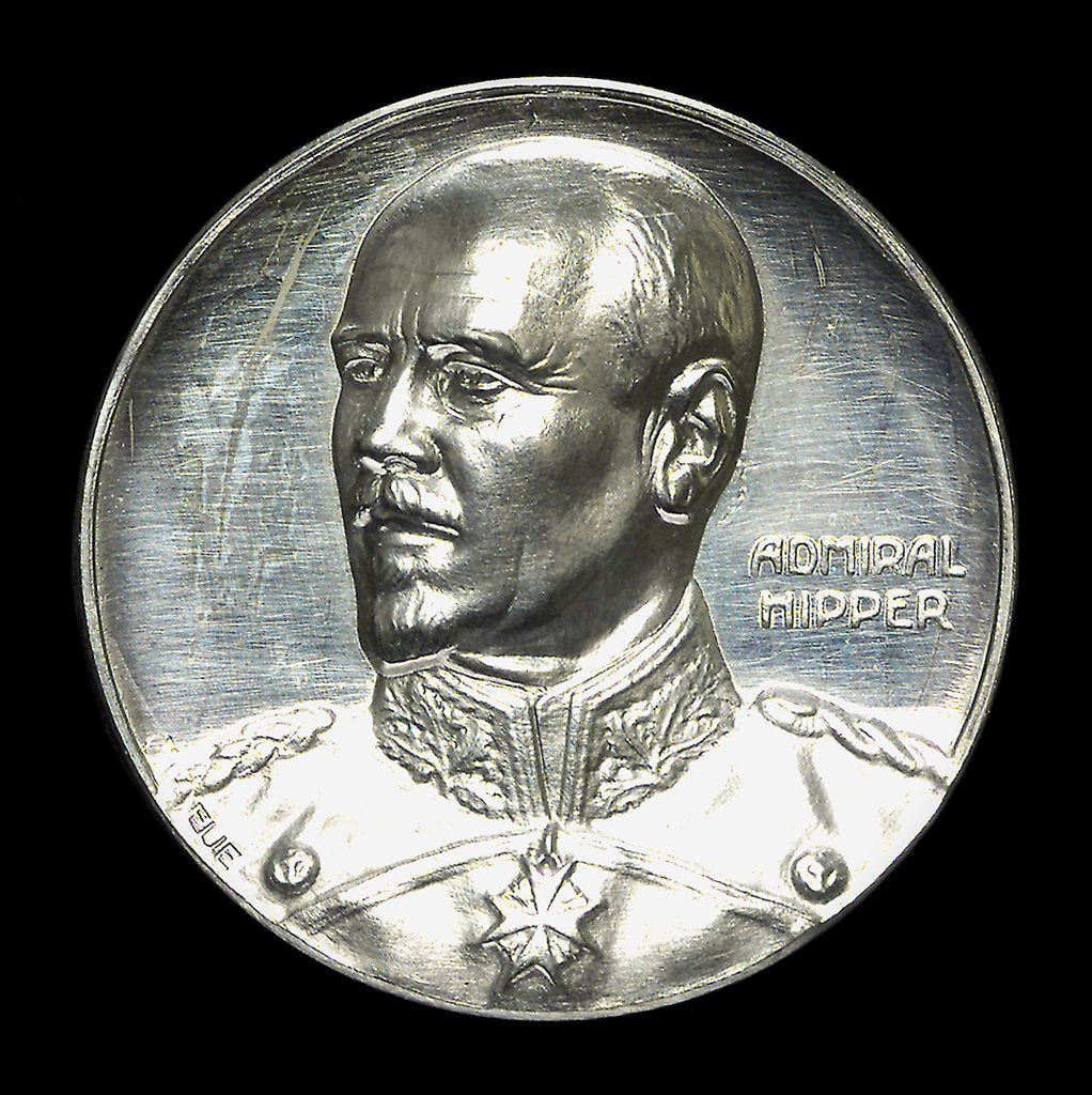 Detail of Medal commemorating Admiral Franz von Hipper (1863-1932) and the Battle of Jutland, 1916; obverse by F. Eue