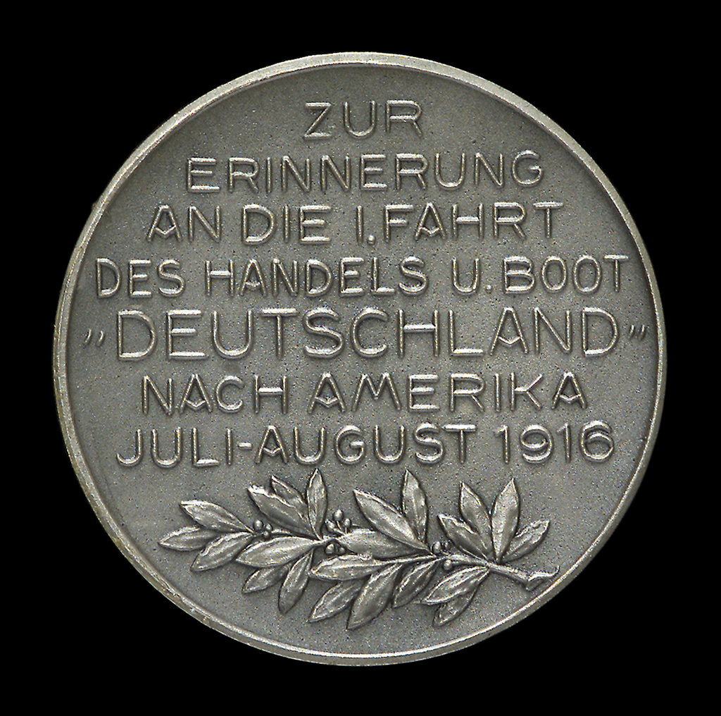 Detail of Medal commemorating Captain Paul König and the submarine 'Deutschland' by M. & W.