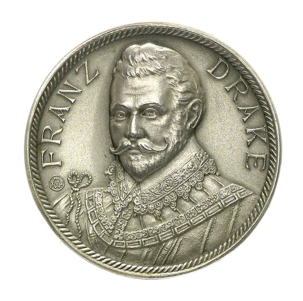 Detail of Medal commemorating Sir Francis Drake and the Atlantic crossing; obverse by M.U.W.