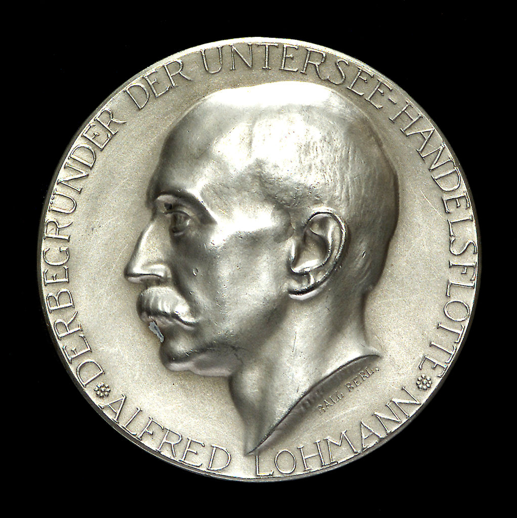 Detail of Medal commemorating Alfred Lohmann, founder of the submarine merchant fleet; obverse by Hugo Kaufmann