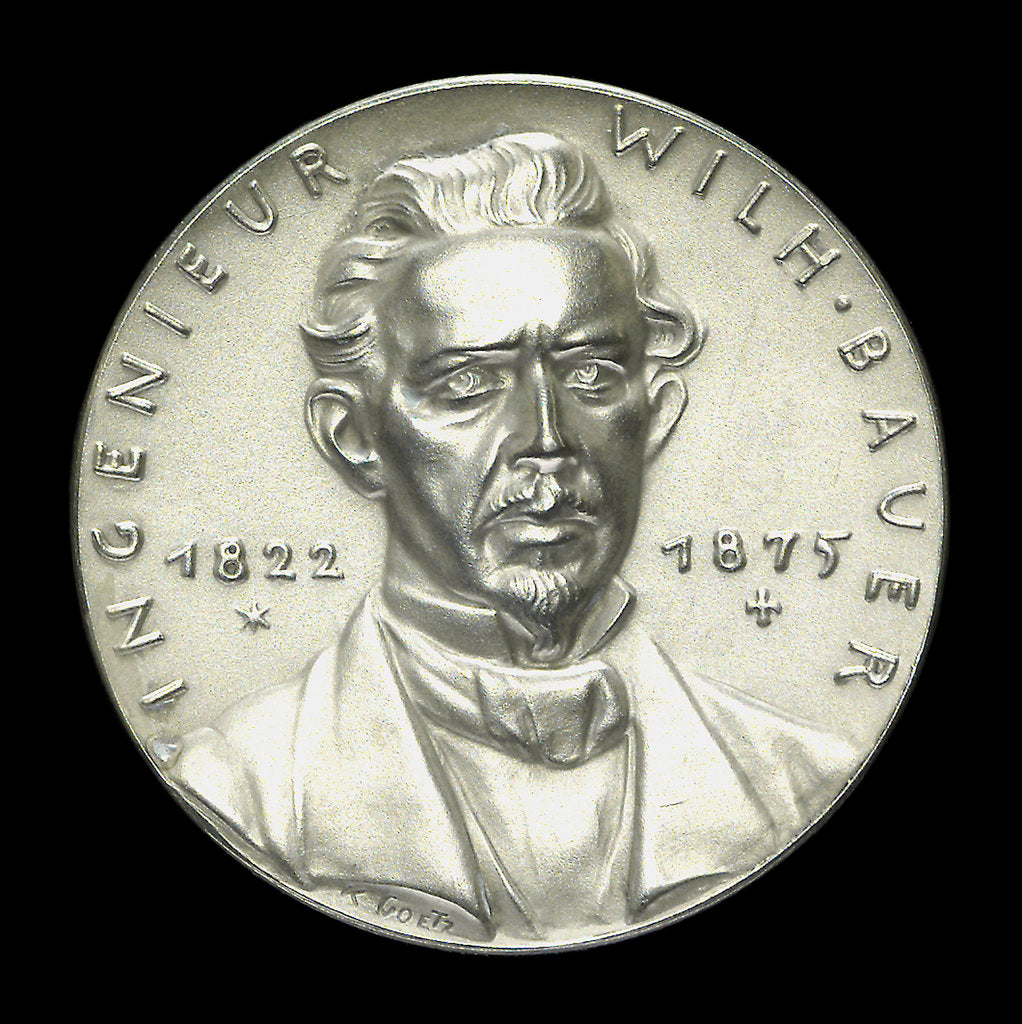 Detail of Medal commemorating W. Bauer, Engineer (1822-1875), 60th anniversary of his death; obverse by Karl Goetz