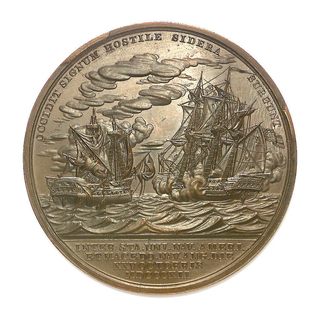 Detail of Medal commemorating Captain Stephen Decatur (1779-1820) and the action between USS 'United States' and HMS 'Macedonian', 1812; reverse by Moritz Furst