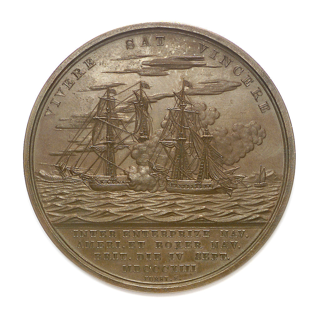 Detail of Medal commemorating the action between USS 'Enterprise' and HMS 'Boxer', 1813; reverse by Moritz Furst