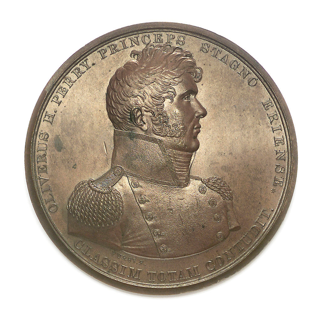 Detail of Medal commemorating Commodore Oliver Perry (1785-1819) and the battle of Lake Erie, 1813; obverse by Moritz Furst