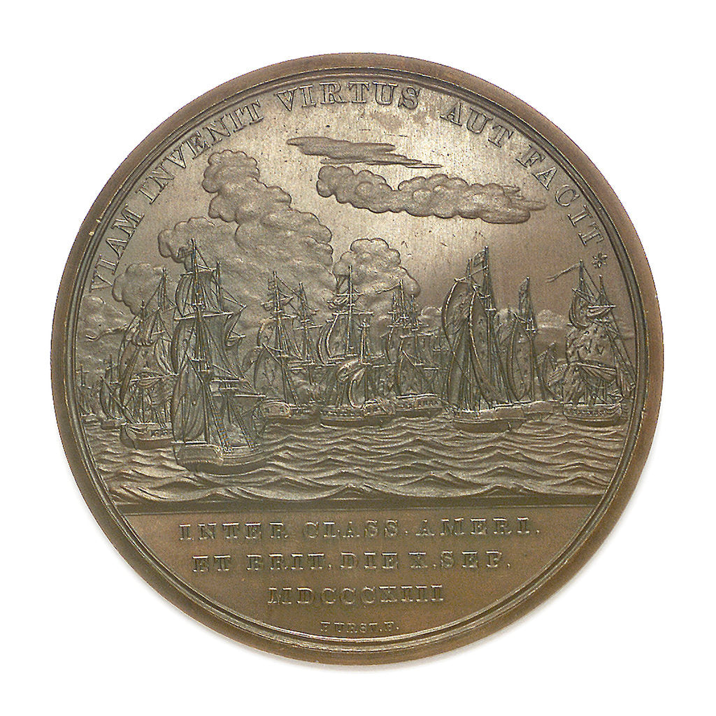 Detail of Medal commemorating Commodore Oliver Perry (1785-1819) and the battle of Lake Erie, 1813; reverse by Moritz Furst
