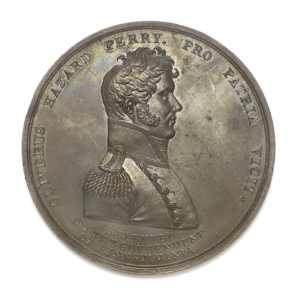 Detail of Medal commemorating Commodore Oliver Perry (1785-1819) and the battle of Lake Erie, 1813; obverse by unknown