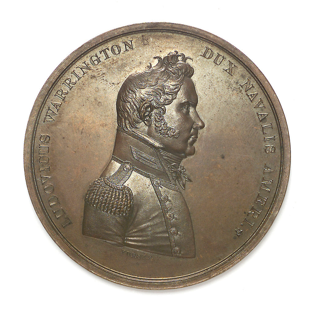 Detail of Medal commemorating Captain Lewis Warrington (1782-1851) and the action between USS 'Peacock' and HMS 'Epervier', 1814; obverse by Moritz Furst