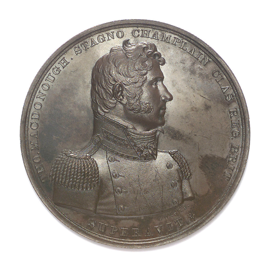 Detail of Medal commemorating Captain Thomas Macdonough (1783-1825) and the battle of Lake Champlain, 1814; obverse by Moritz Furst