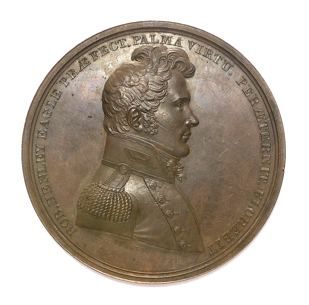 Detail of Medal commemorating Captain Robert Henley (1783-1828) and the Battle of Lake Champlain, 1814; obverse by Moritz Furst