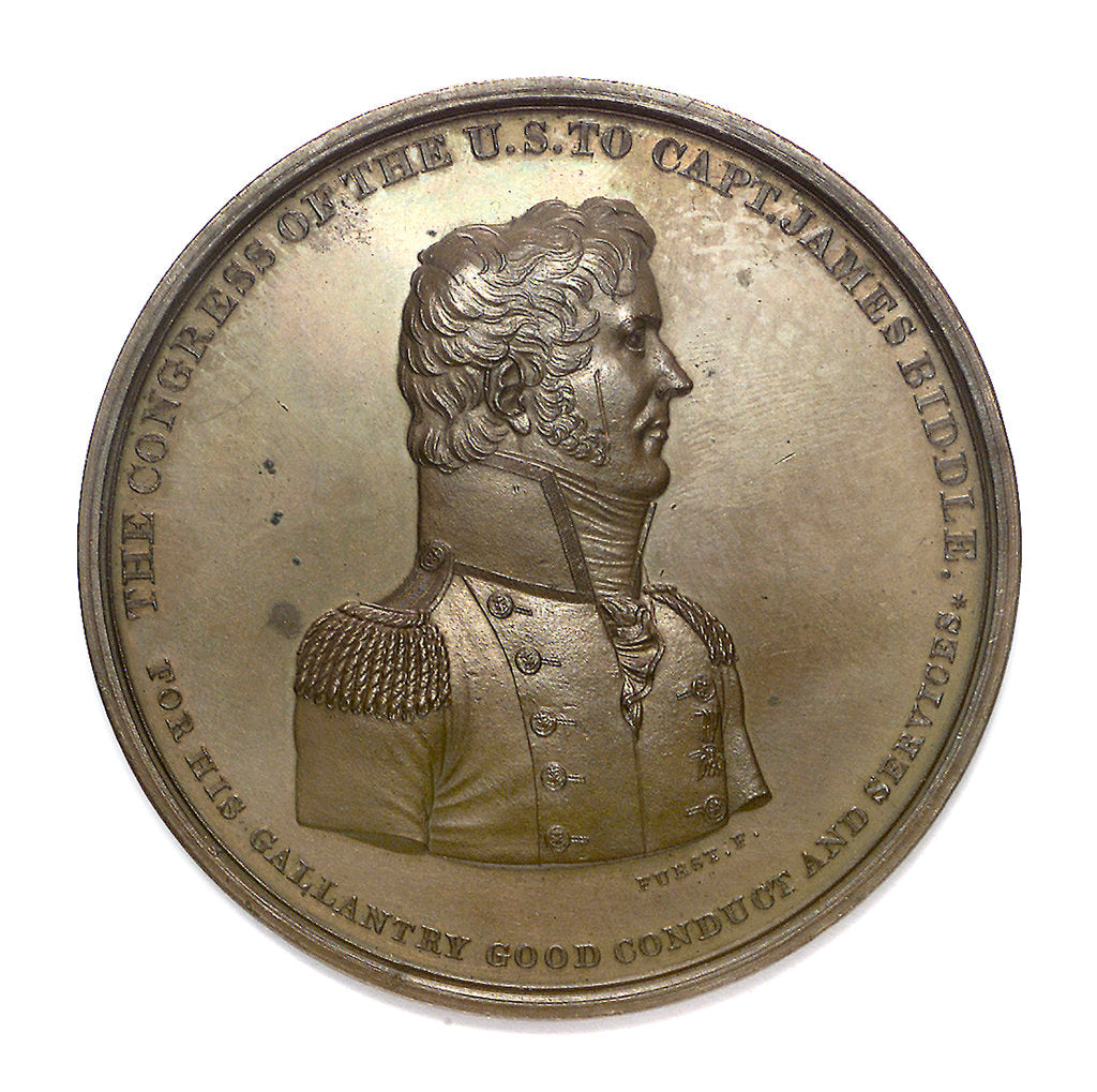 Detail of Medal commemorating Captain James Biddle and the action between USS 'Hornet' and HMS 'Penguin', 1815; obverse by Moritz Furst