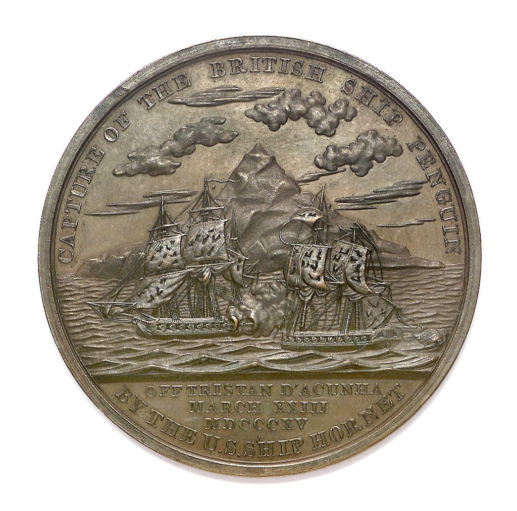 Detail of Medal commemorating Captain James Biddle and the action between USS 'Hornet' and HMS 'Penguin', 1815; reverse by Moritz Furst