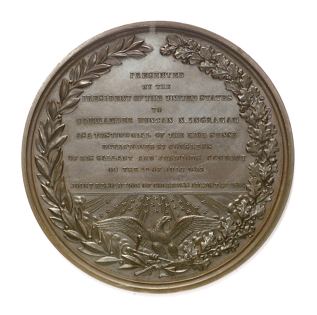 Detail of Medal commemorating Commander Nathaniel Ingraham (1802-1891) and the Smyrna incident, 1853; reverse by S. Eastman