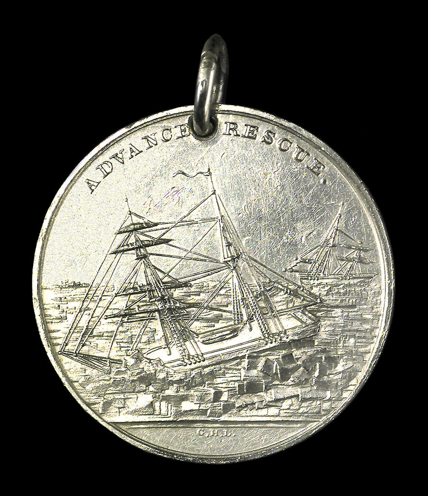 Detail of Medal commemorating the Grinnell Arctic Expedition, 1851; obverse by G.H. Lovett