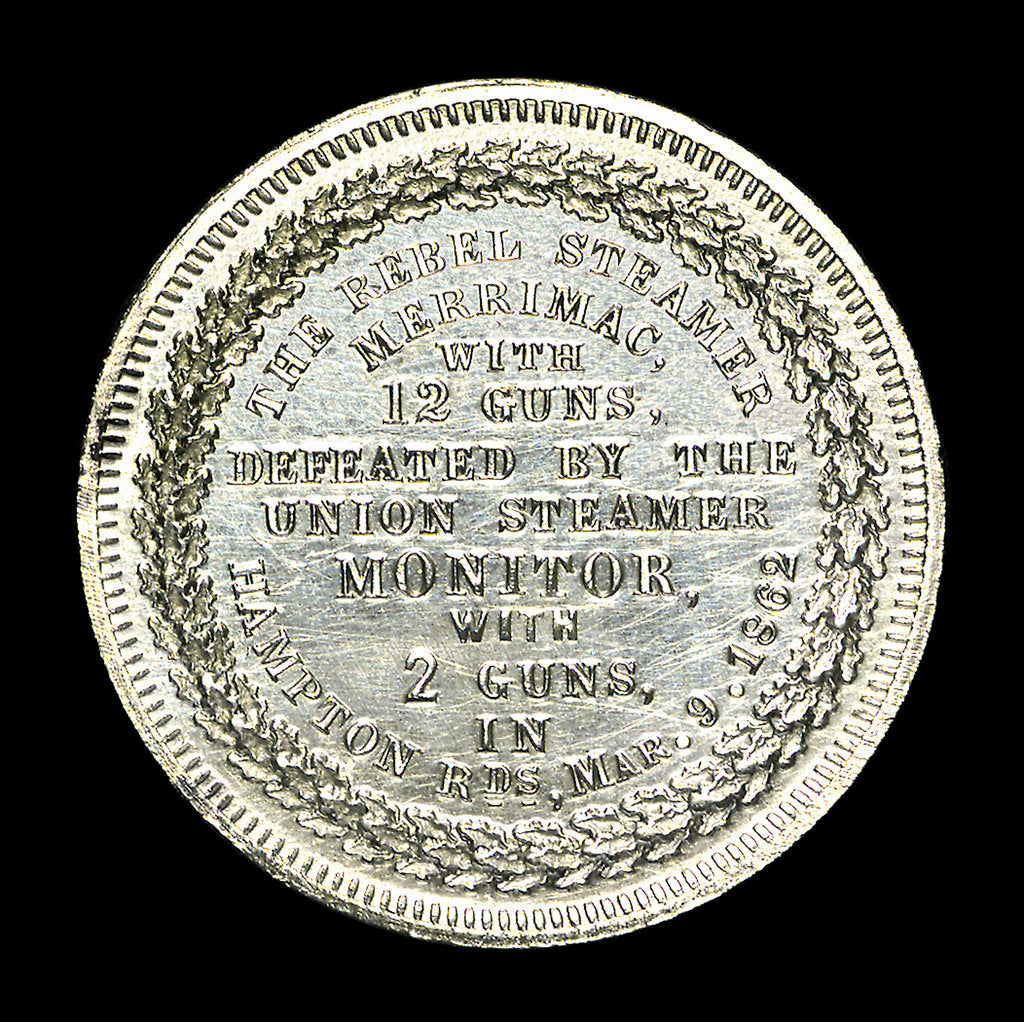 Detail of Medal commemorating the action in Hampton Roads, 1862; reverse by unknown
