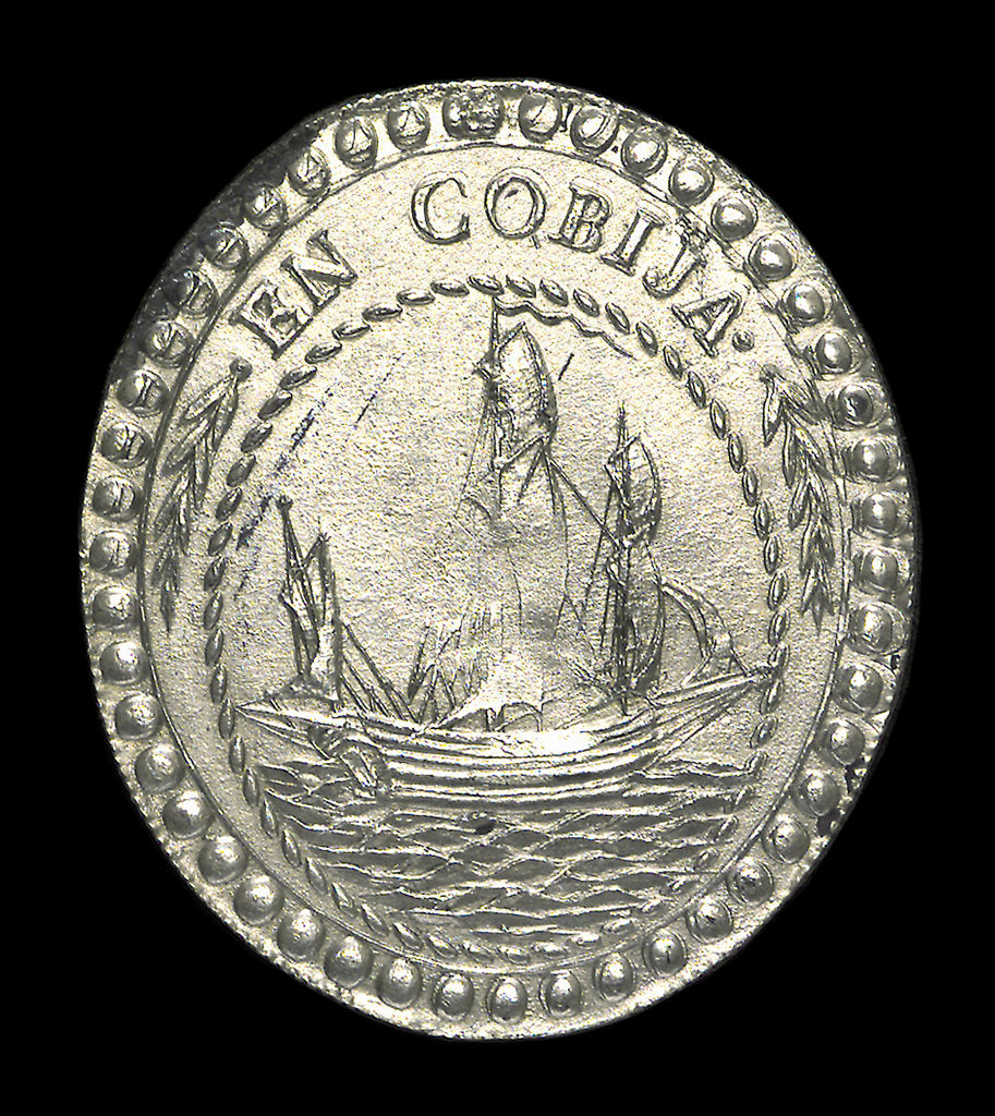 Detail of Commemorative medal depicting the Port of Cobija; obverse by unknown