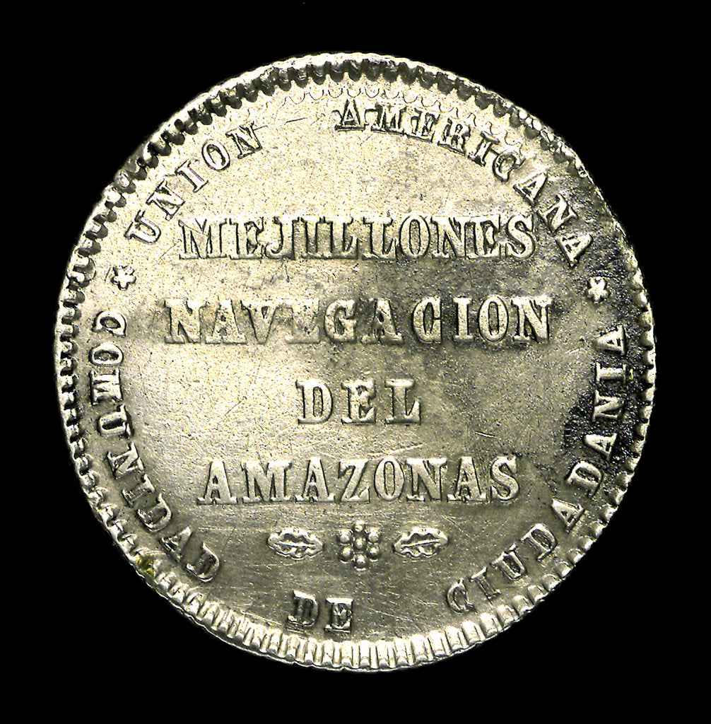 Detail of Medal commemorating the navigation of the Amazon, 1865; reverse by unknown