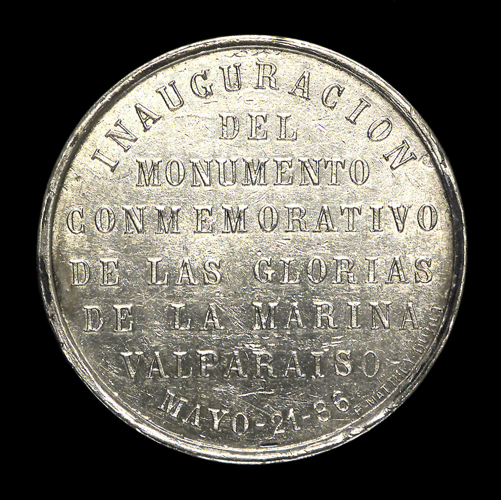Detail of Medal depicting the naval monument at Valparaiso; reverse by unknown