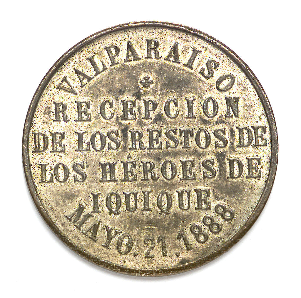 Medal depicting the naval monument at Valparaiso; reverse by unknown