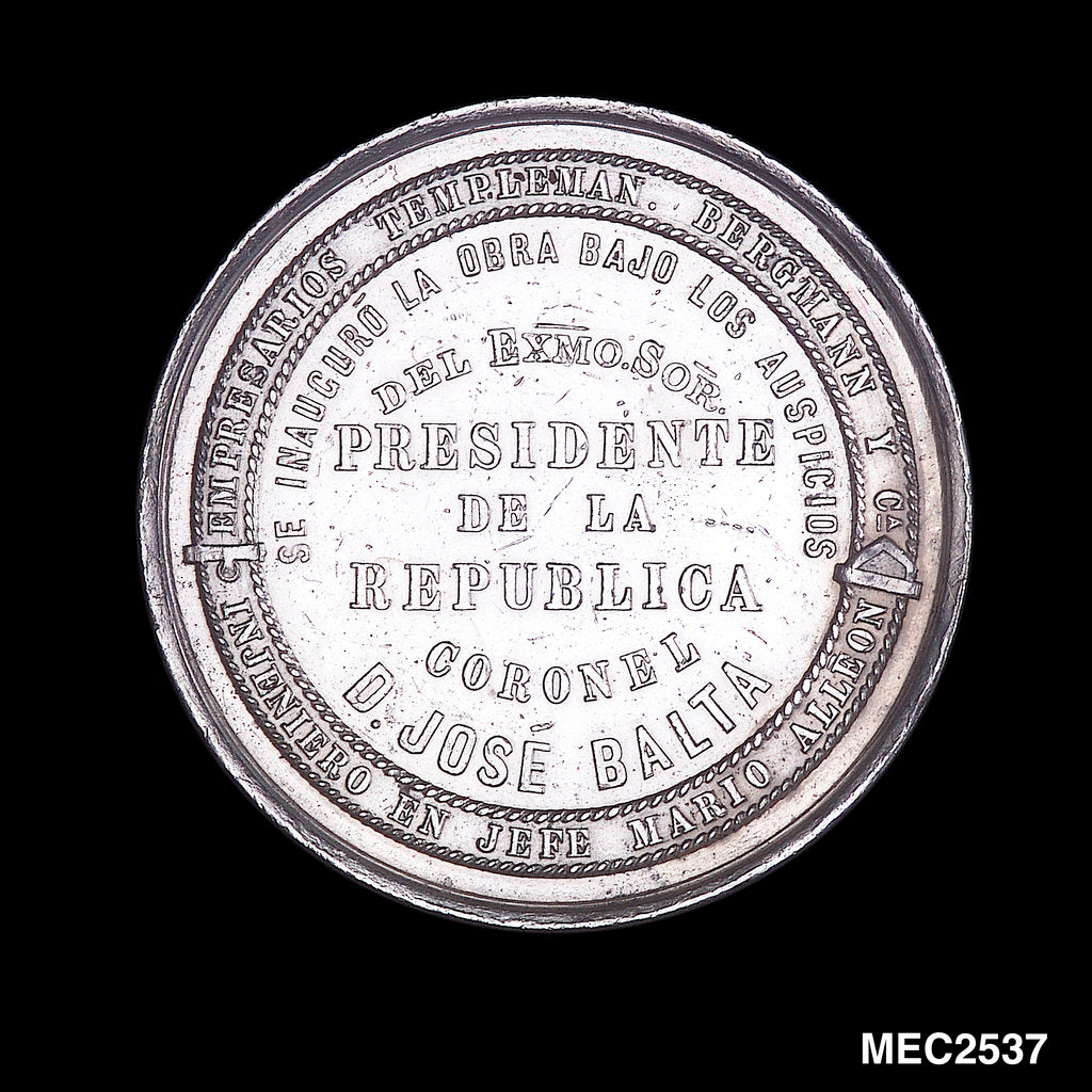 Detail of Medal commemorating the improved harbour works at Callao; reverse by unknown
