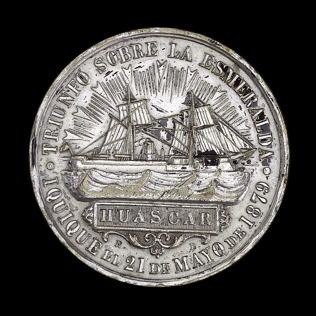 Detail of Medal commemorating the action off Iquique, 1879; obverse by R. Britten