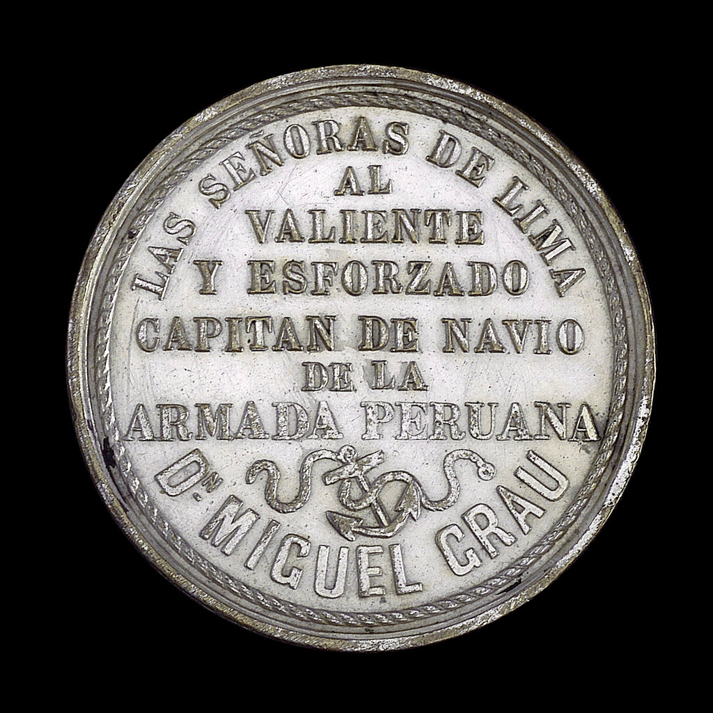 Detail of Medal commemorating the action off Iquique, 1879; reverse by R. Britten