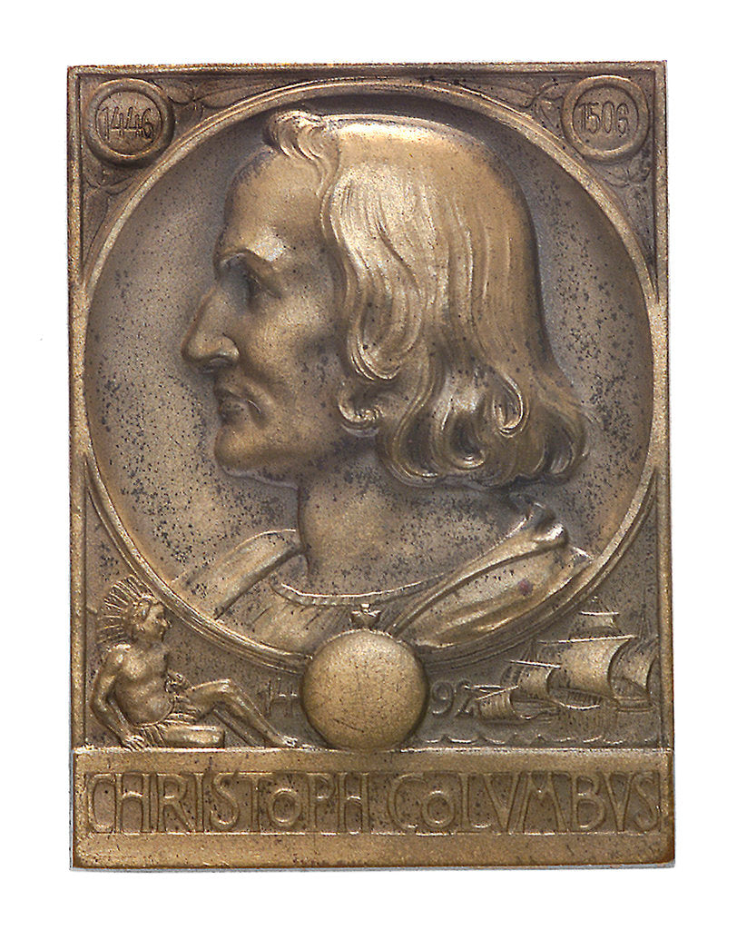 Detail of Medal commemorating Christopher Columbus (1451-1506) and the discovery of America, 1492; obverse by M. & W.