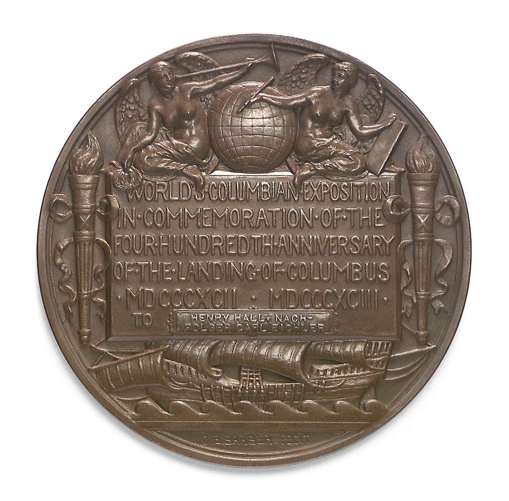 Detail of Medal commemorating Christopher Columbus (1451-1506) and the discovery of America, 1492; reverse by C.E. Barber