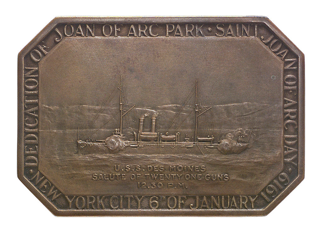 Medal commemorating the dedication of Joan of Arc Park, 1919; obverse by Tiffany & Co.