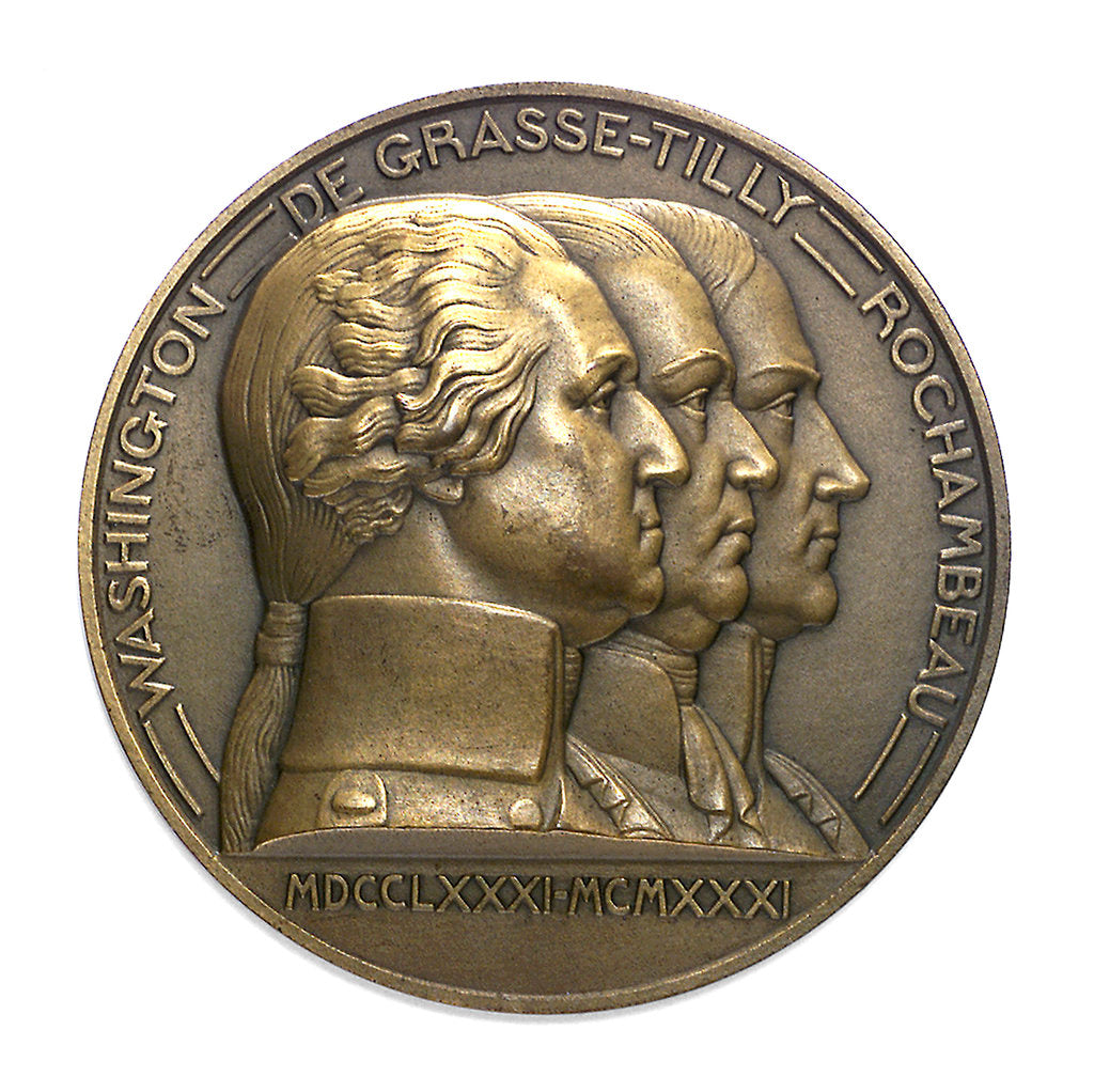 Detail of Medal commemorating the 150th anniversary of the capitulation of York Town, 1931; obverse by Pierre Turin