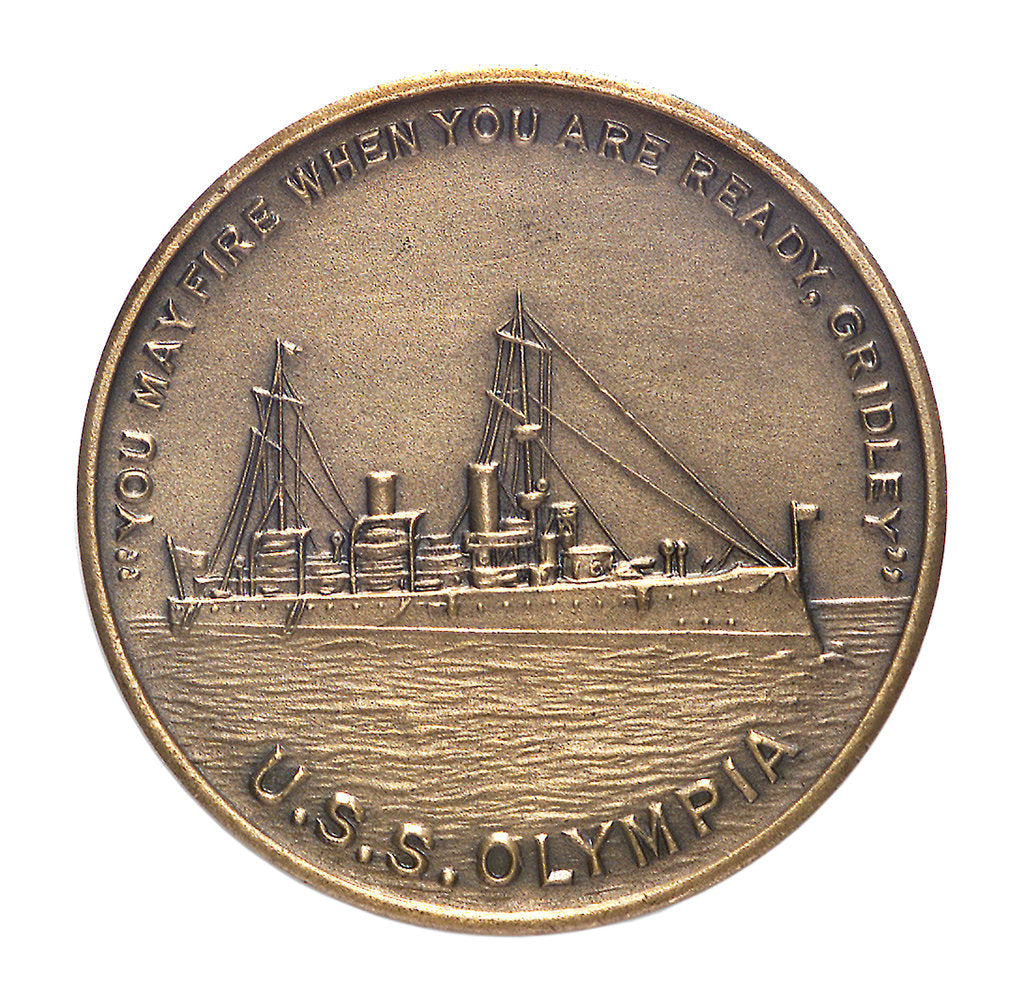 Detail of Medal commemorating the Battle of Manila Bay and USS 'Olympia'; 60th anniversary, 1958; obverse by unknown