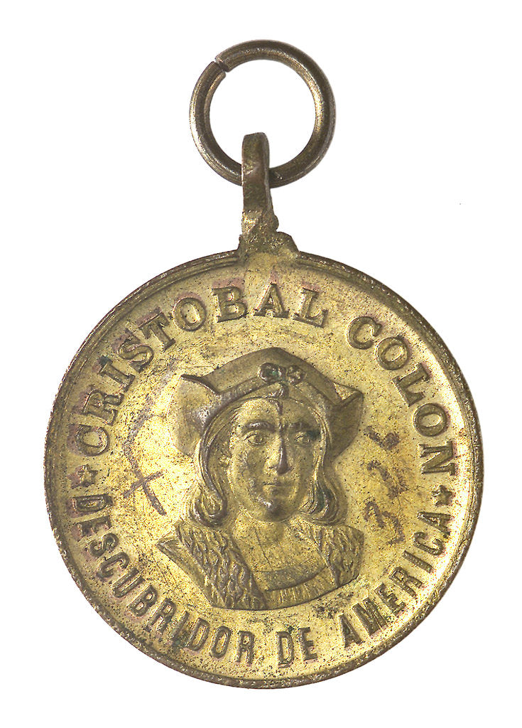Detail of Medal commemorating Christopher Columbus (1451-1506) and the discovery of America, 1492; obverse by unknown
