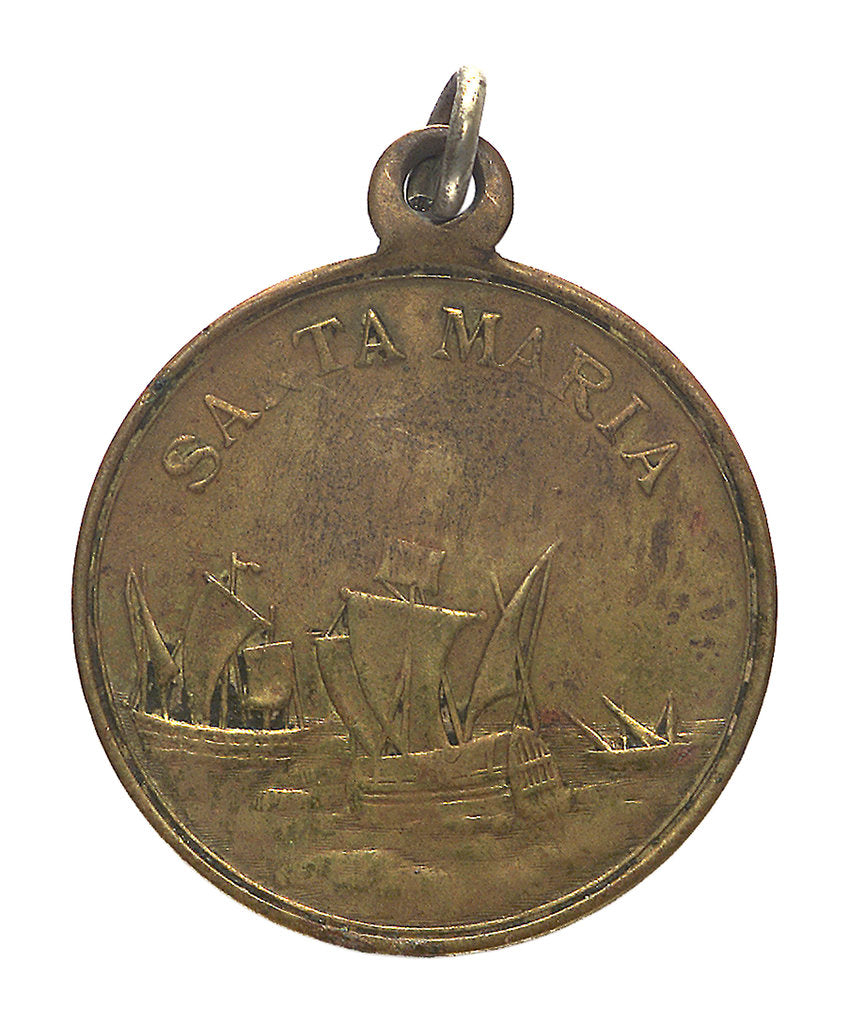Detail of Medal commemorating Christopher Columbus (1451-1506) and the discovery of America, 1492; reverse by unknown