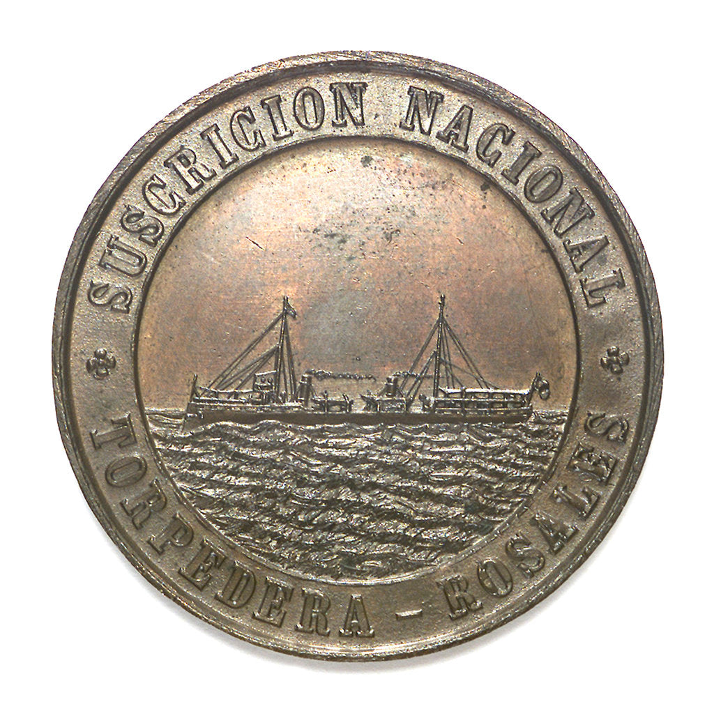 Detail of Medal commemorating the national subscription for the torpedo boat 'Rosales'; obverse by unknown