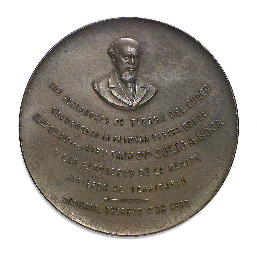 Detail of Medal commemorating the visit of President Roca and the Argentina Fleet to Terra del Fuego, 1899; obverse by Rossi Bellagamba