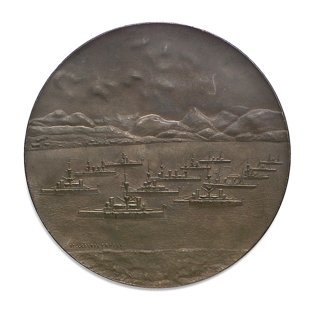Detail of Medal commemorating the visit of President Roca and the Argentina Fleet to Terra del Fuego, 1899; reverse by Rossi Bellagamba