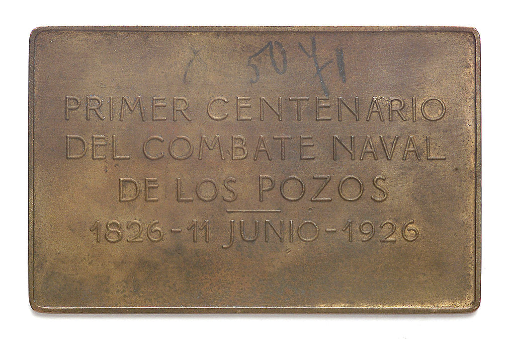 Detail of Medal commemorating the centenary of the naval action of Los Pozos, 1926; reverse by C. Rossi