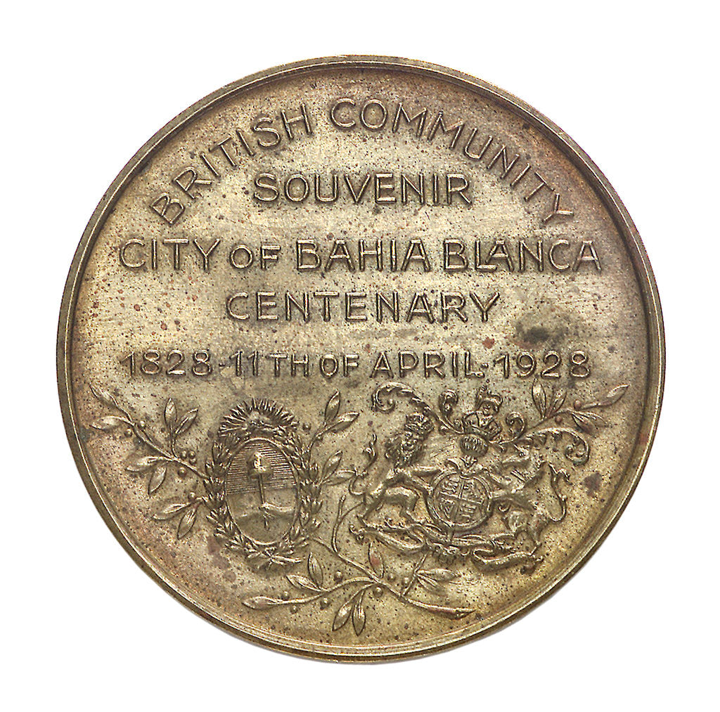 Detail of Medal commemorating the Bahia Blanca centenary, 1928; reverse by unknown