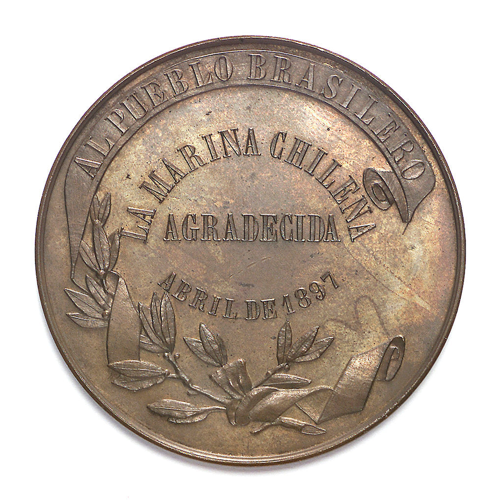 Detail of Medal commemorating the visit of the Chilean fleet to Rio de Janeiro, 1897; reverse by unknown