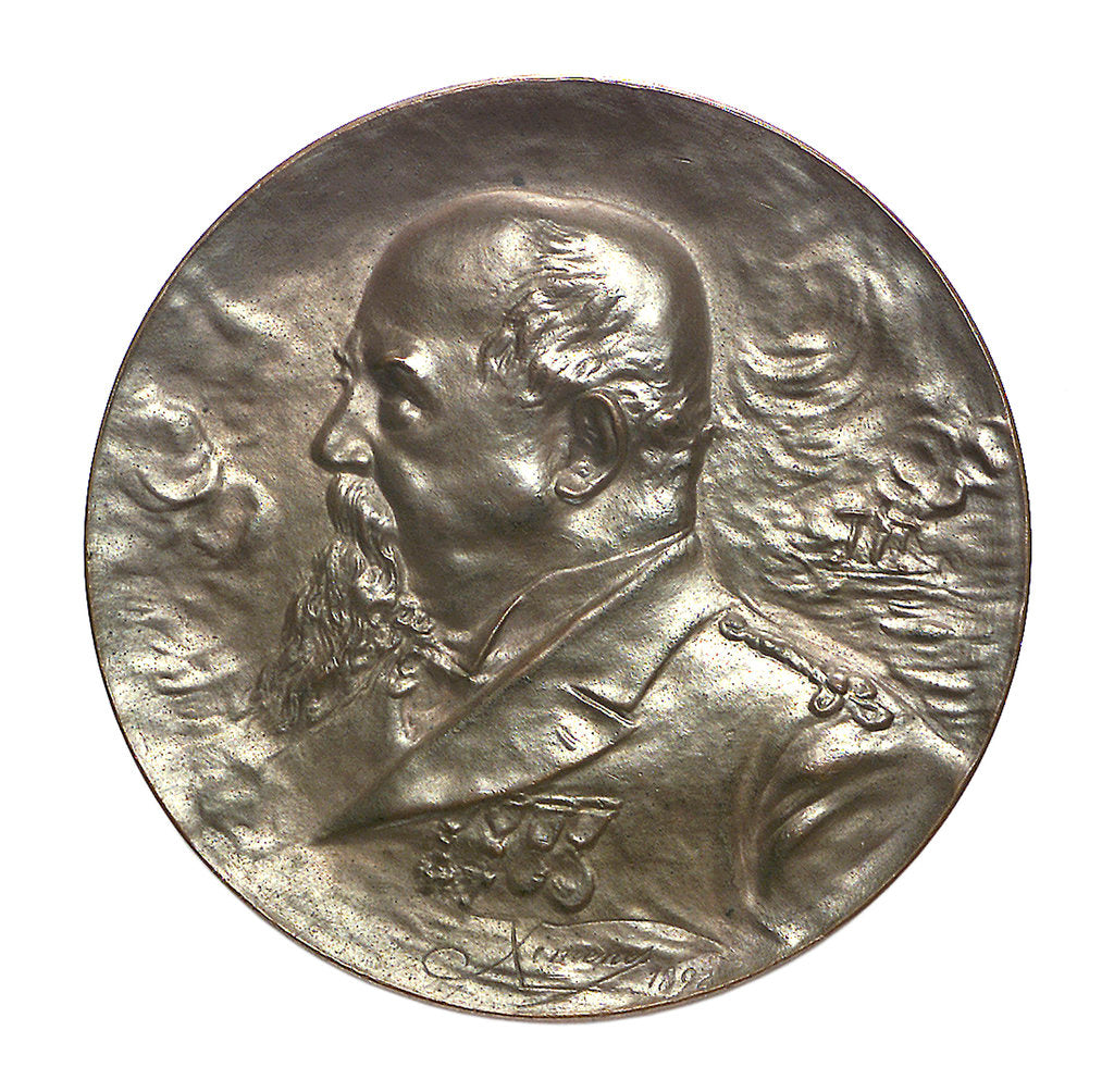 Detail of Commemorative medal depicting Captain V. E. Lavarello; obverse by Cardinal Francisco Jimenez de Cisneros Ximenes