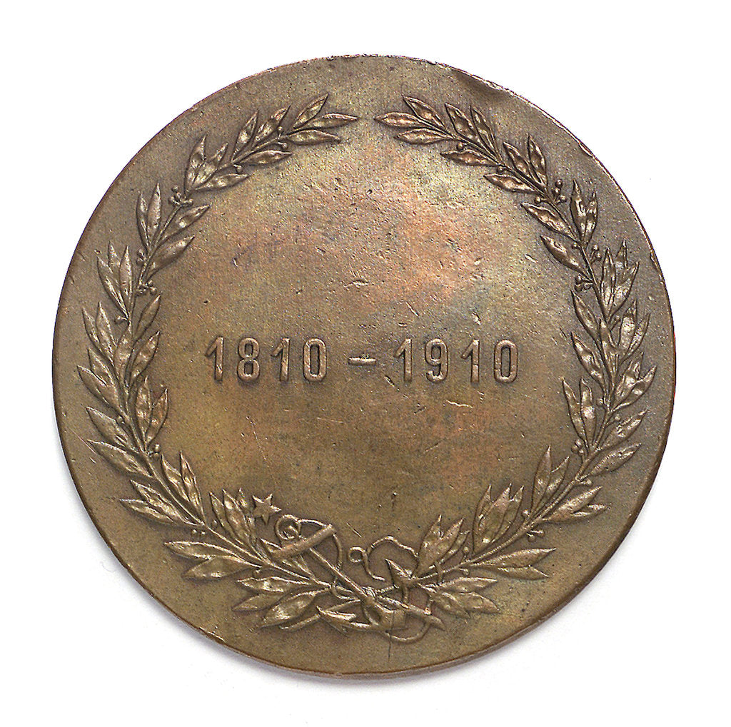 Detail of Medal commemorating the centenary of the Naval School of Chile, 1910; reverse by unknown