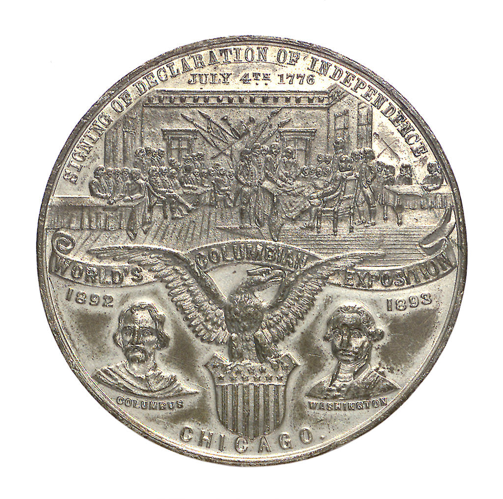 Detail of Medal commemorating Christopher Columbus (1451-1506) and the discovery of America; obverse by Boldenweck & Co.