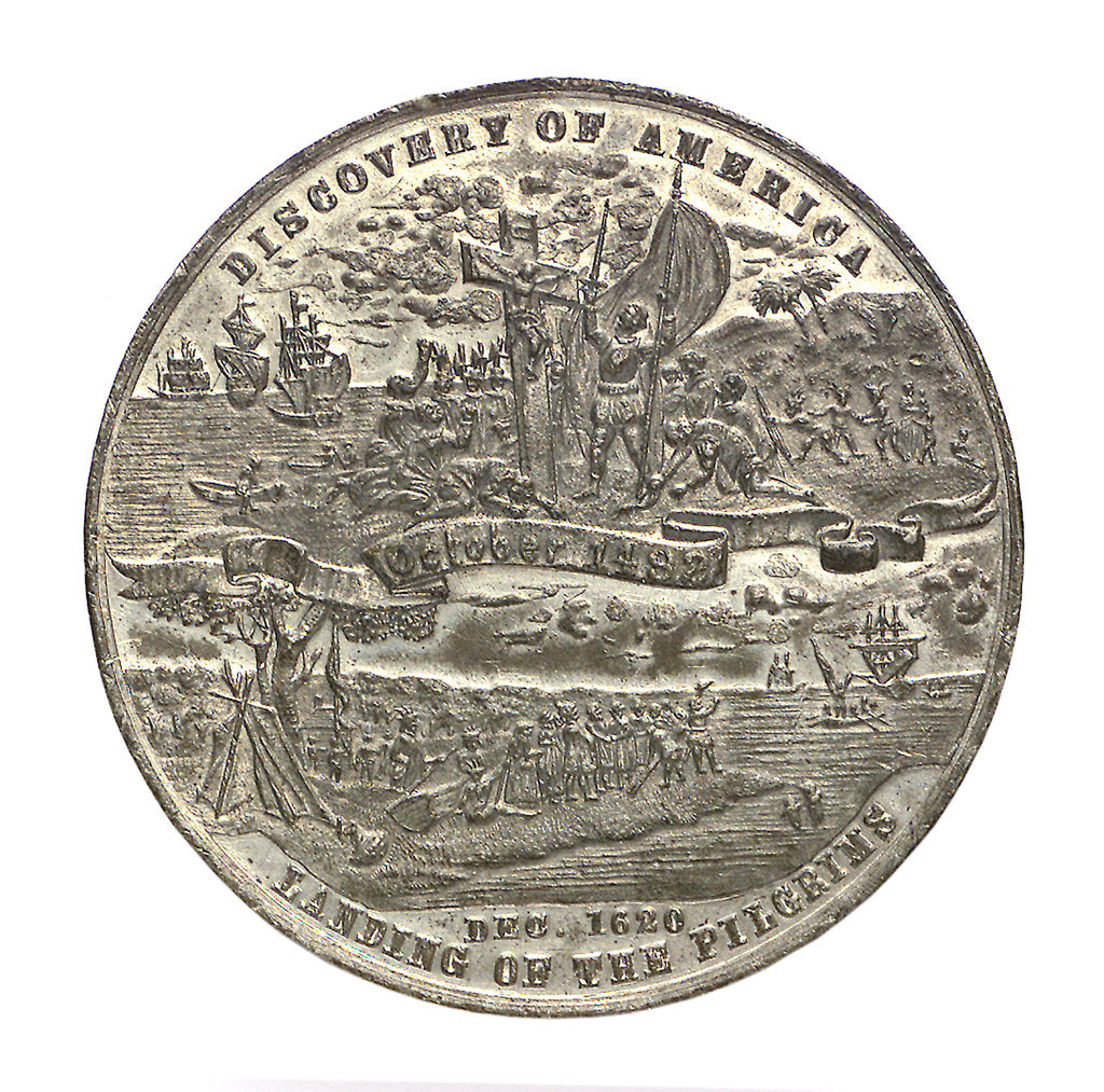Medal commemorating Christopher Columbus (1451-1506) and the discovery of America; reverse by Boldenweck & Co.