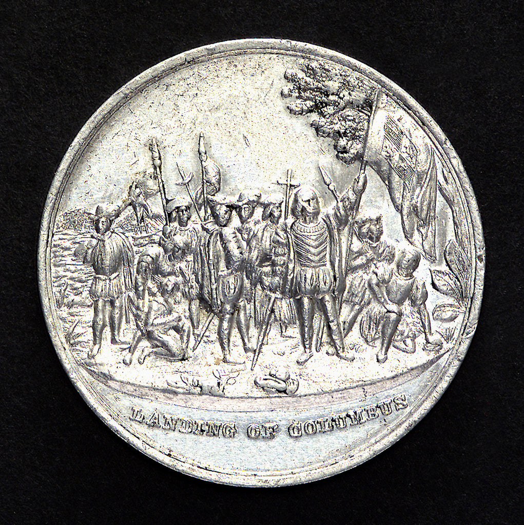 Detail of Medal commemorating Christopher Columbus (1451-1506) and the discovery of America; obverse by unknown