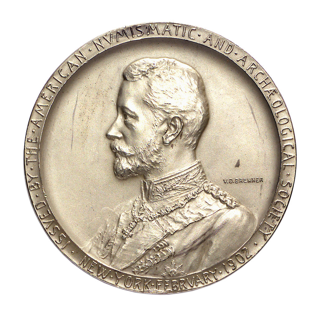 Detail of Medal commemorating the visit of Admiral Prince Henry of Prussia to America, 1902; obverse by V.D. Brenner