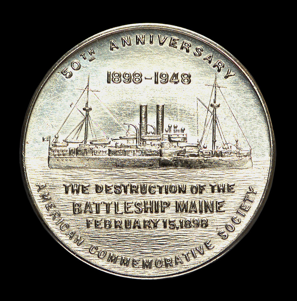 Detail of Medal commemorating the 50th anniversary of the destruction of the battleship Maine, 1948; obverse by W. & H. Co.