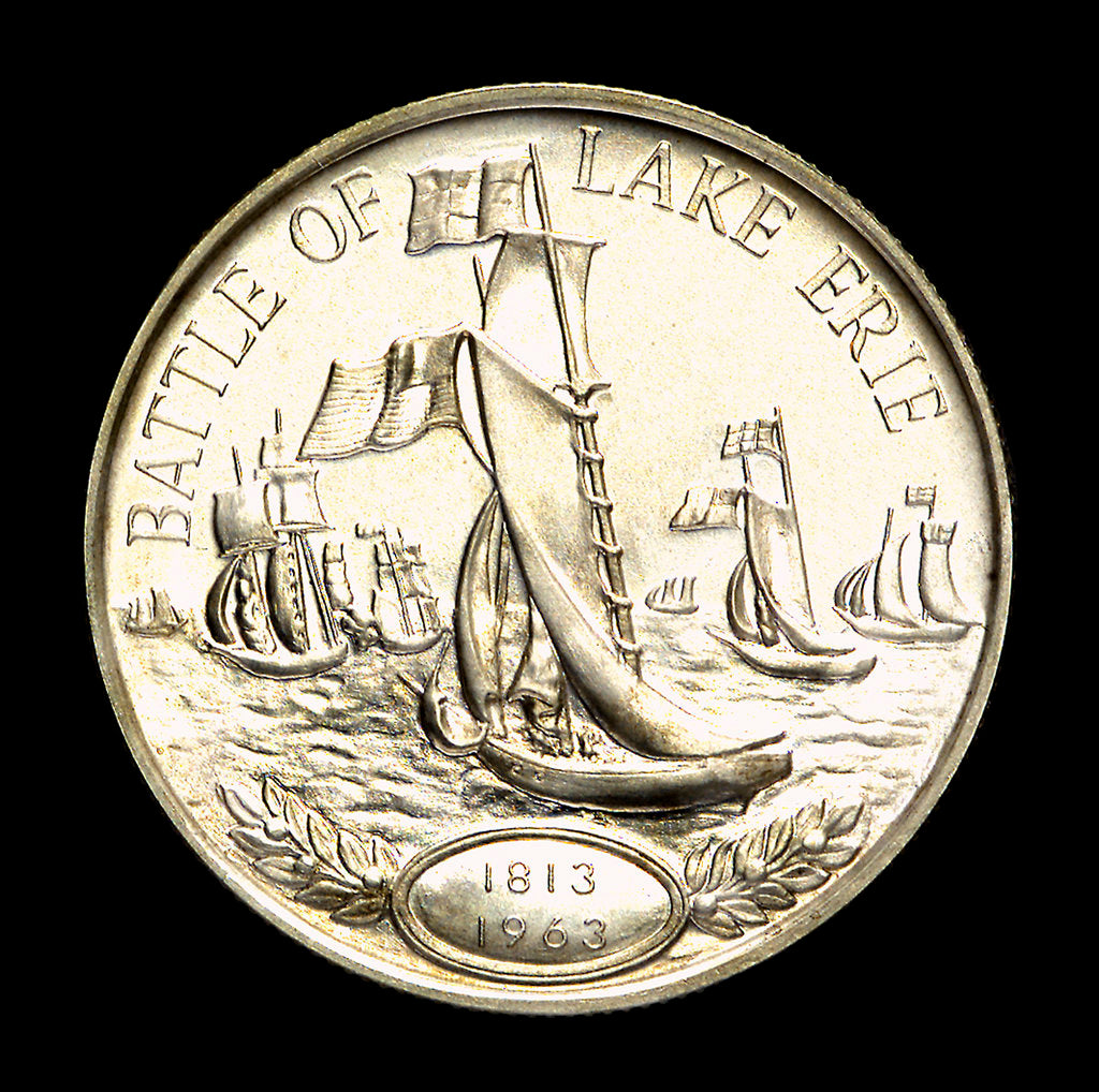 Detail of Medal commemorating the 150th anniversary of the battle of Lake Erie, 1963; reverse by Heraldic Art