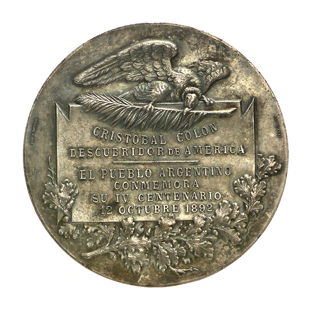 Detail of Medal commemorating the 400th anniversary of the discovery of America, 1892; reverse by unknown