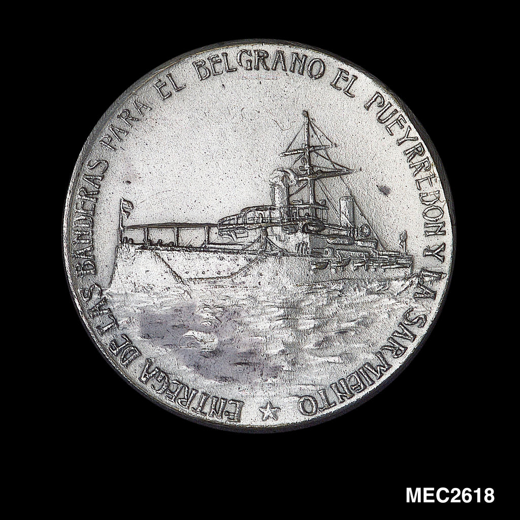Detail of Medal commemorating hoisting the flag on SS 'Belgrano', 'Pueyrredon' and 'Sarmiento' by unknown